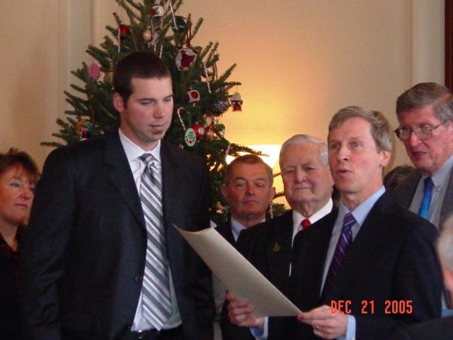 Governor John Lynch with Chris Carpenter, 2005.